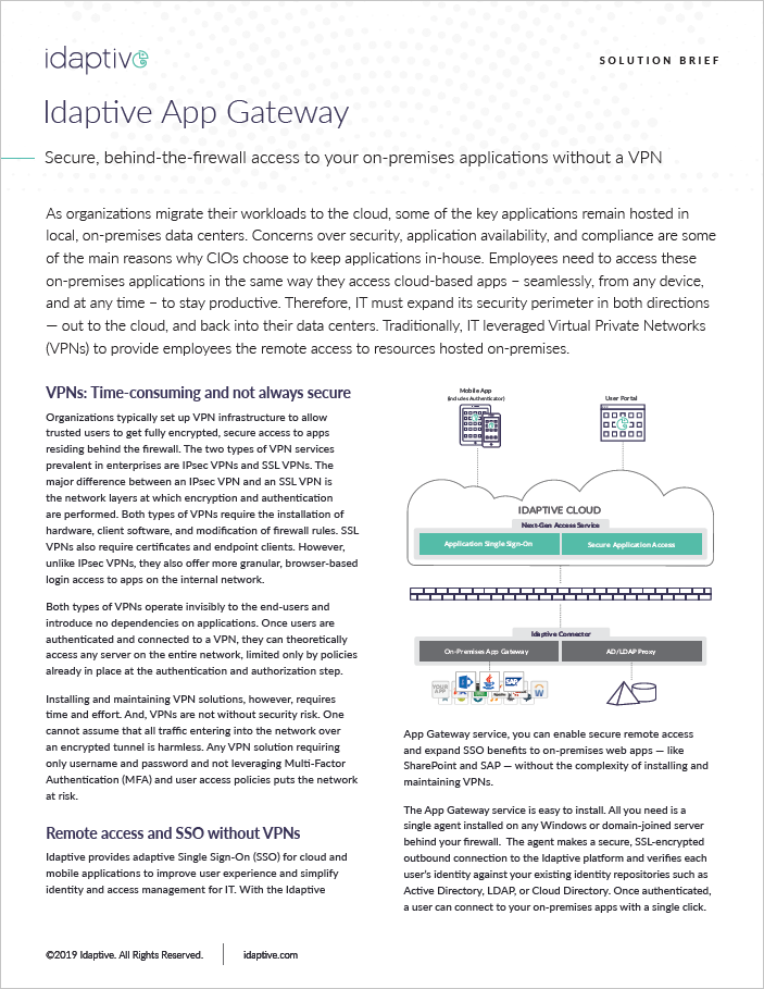 Idaptive App Gateway Solution Brief Cover