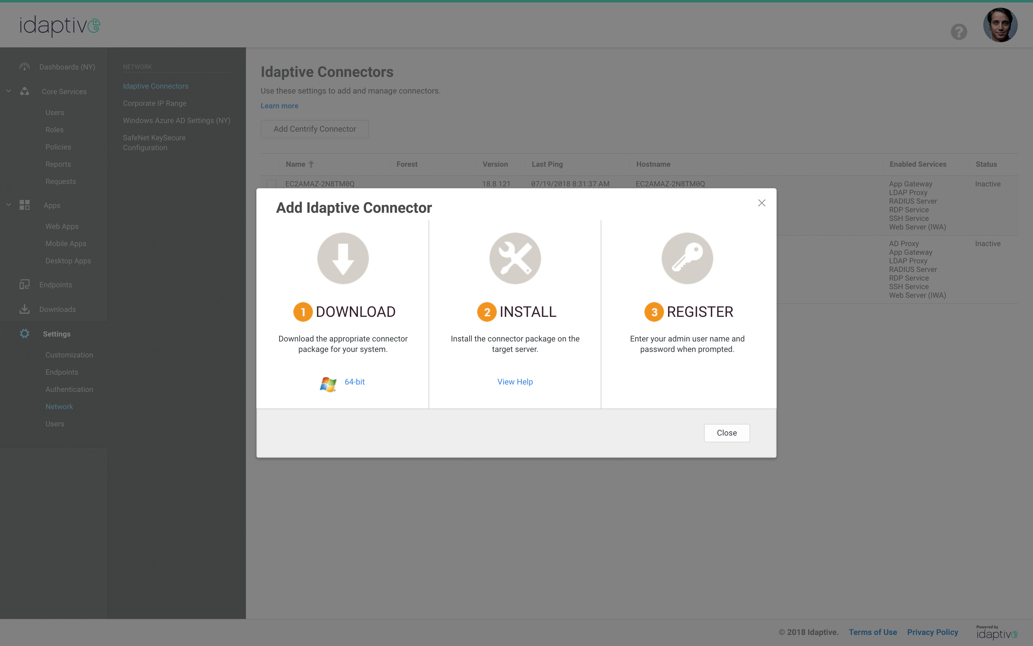 Admin Cloud Connectors – Idaptive App Gateway
